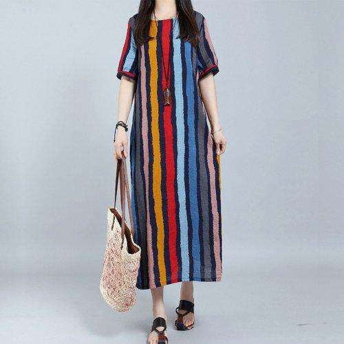 Round Neck Plain Cotton/Linen Striped Maxi Dresses