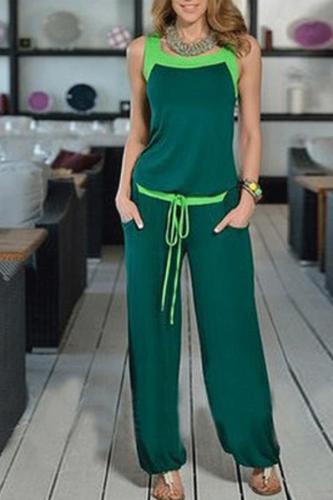 Spaghetti Strap  Plain  Sleeveless Jumpsuits