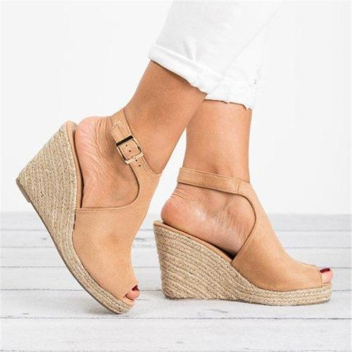 Fashion Wedge Heel Sandals Adjustable Buckle Peep Toe Sandals