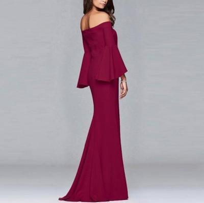 Sexy Off Shoulder Long Sleeve Slit Evening Dresses