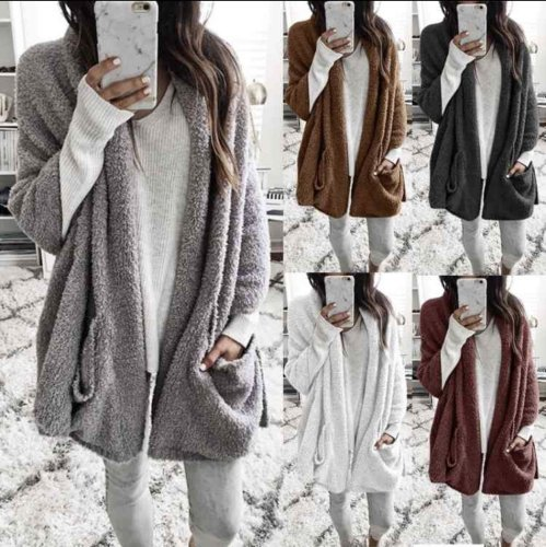 Leisure Loose Pure Color Long-Sleeved Warm Jacket