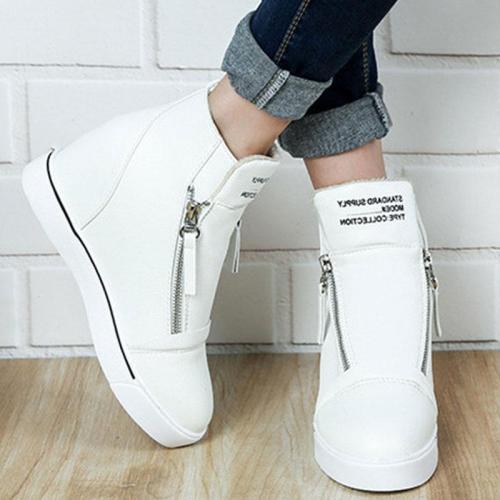 Round Toe Zipper Elevator Heel Casuals Shoes