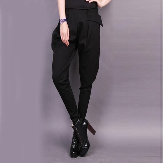 Plain Black Harem Pocket Casual Women's Pants
