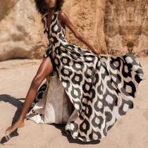 Sex Fashion Vintga Leopard Print Maxi Dress