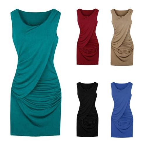 Designed Pleated Cowl Neck Bowknot Plain Bodycon Dress