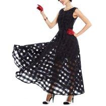 Black Plaid Sleeveless Tank A-Line Party Bohemian Long Dress