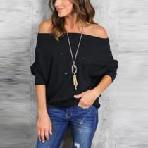 Off Shoulder  Broken Holes  Plain  Batwing Sleeve T-Shirts