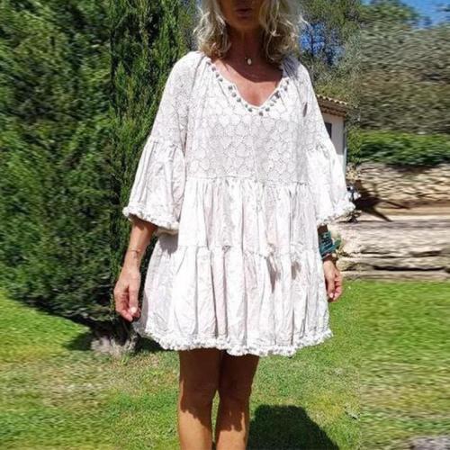 V Neck Tassels Casual Dresses