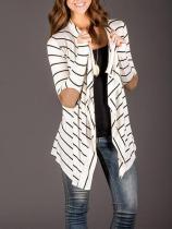 Black Stripe Patchwork Sleeves Cardigan