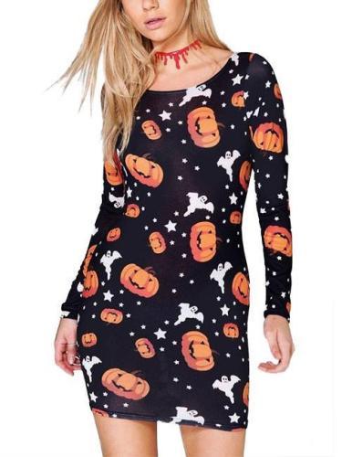 Halloween Pumpkin Printed Long-Sleeve Dresses