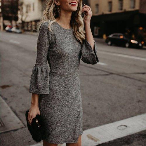 Elegant Pure Color Flare Sleeve Package Hip Work Dress