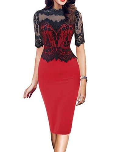 Band Collar Plain Bodycon Lace Dress