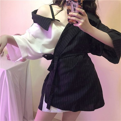 Stripe splicing contrast color frenulum outside shoulder shirt