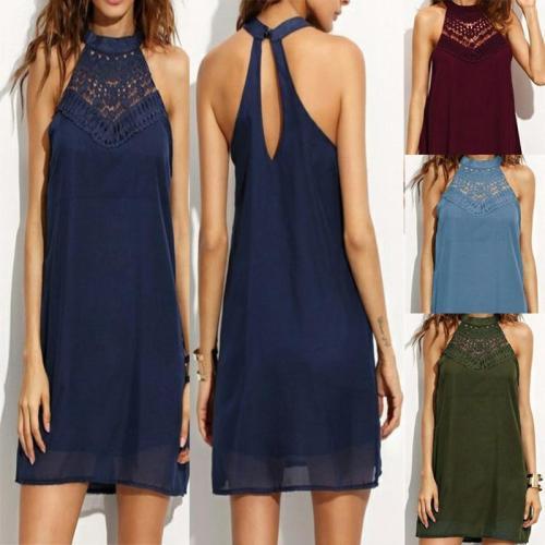 Sleeveless Lace Patchwork Chiffon Casual Dress