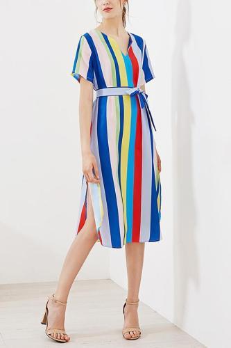Stylish Floral Print Rainbow Maxi Dress