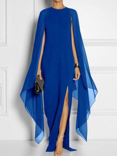 Long-Sleeved Cape Open Sleeve High Slit Plain Chiffon Evening Dresses