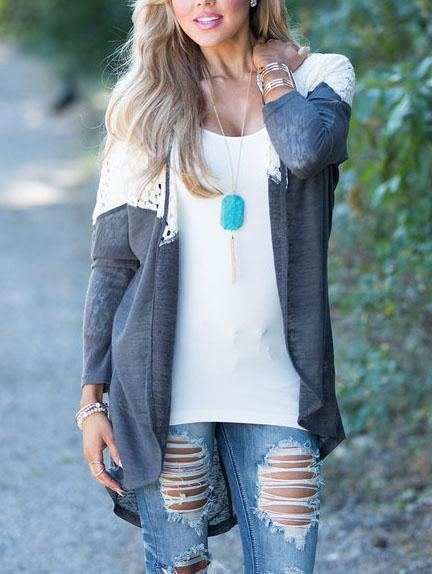 Patched Lace Thin Mesh Cardigan