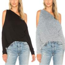 New Sexy One-Shoulder Solid Color T-Shirt