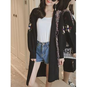 Collarless Pocket Embroidery Cardigans