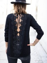 Fashion Back Hollow Out Lace Splicing T-Shirt