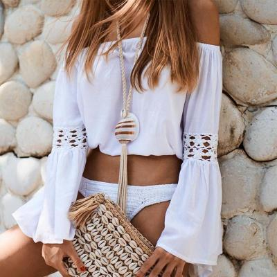 Sexy Off Shoulder Sun Protection Blouse Beach Wear