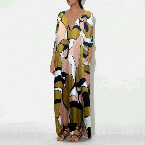 Casual Vintage Printed Cotton/Linen Casual Dresses