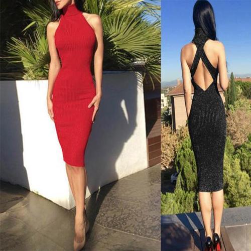Turtleneck  Plain Bodycon Dresses