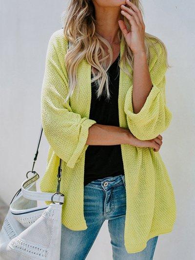 Plain Loose Knit Cardigans