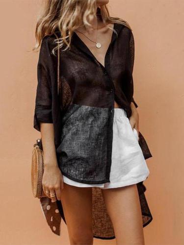 Fashion V Collar Plain Loose Shirt