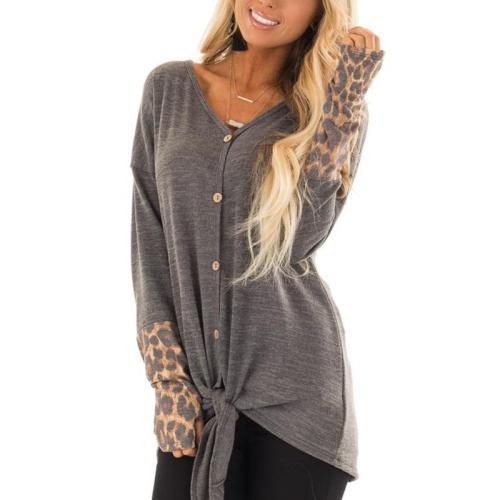 V Neck Long Sleeve Leopard Patchwork Button T-Shirts