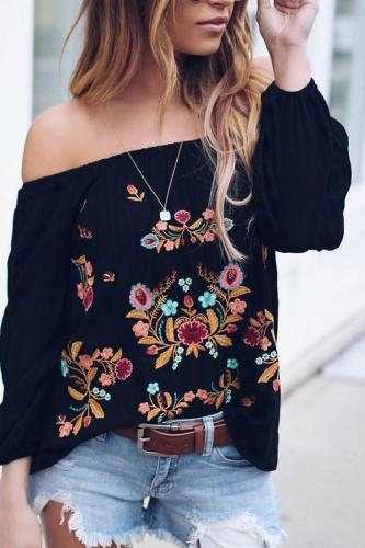 Shoulder Embroidery Middle Sleeve Ladies Leisure Snow Spinning T-Shirt