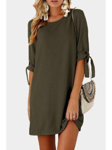 Round Neck Bowknot Plain Shift Dresses