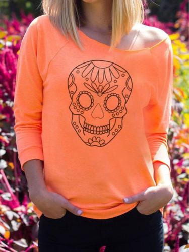 Halloween Skull Printed Long-Sleeve T-Shirt