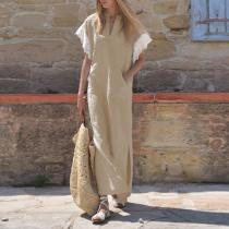 Casual V Collar Lace Short Sleeves Plain Maxi Dresses