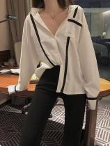 Casual Loose Sexy V   Neck Long Sleeve  Strips Splicing Shirt