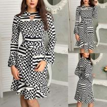 Round Neck Hollow Out Geometrical Printed Long Sleeve Casual Dresses