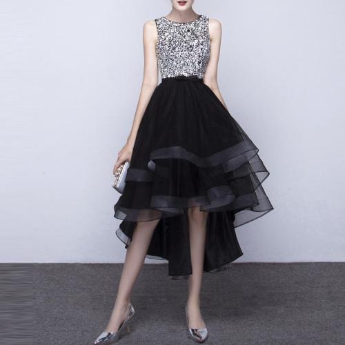 Sequins Black Irregular Hem Evening Party Dress