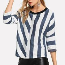 Round Neck 3/4 Sleeves Stripes Patchwork T-Shirts