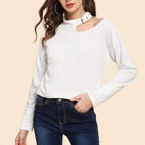 Sexy Hollow Out Long Sleeve Plain T-Shirts
