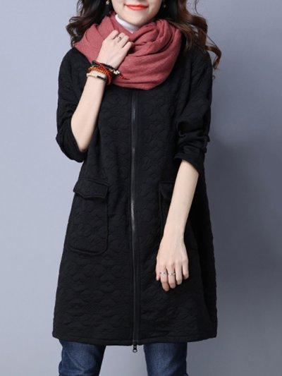 Collarless Flap Pocket Embossed Plain Longline Coat