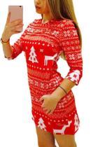 Christmas Round Neck  Animal Prints  Half Sleeve Bodycon Dresses