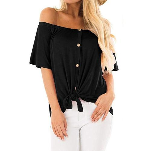 Off Shoulder Short Sleeve Button Casual T-Shirts