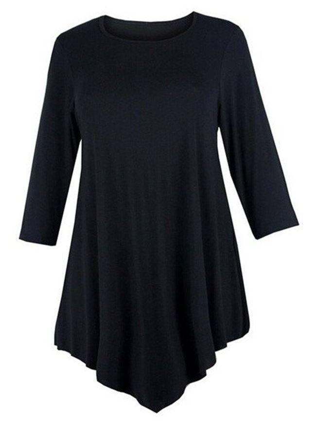 Plain Asymmetrical Hems Charming Plus Size T-Shirt