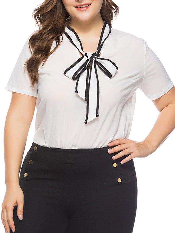 Tie Collar Plain Short Sleeve Plus Size Blouses & T-Shirt