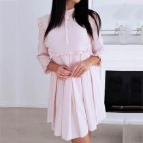 Turtle Neck Lace Up Ruffles 3/4 Sleeves Casual Dresses