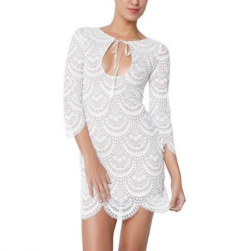Sexy Tassel Lace Plain Casual Dresses