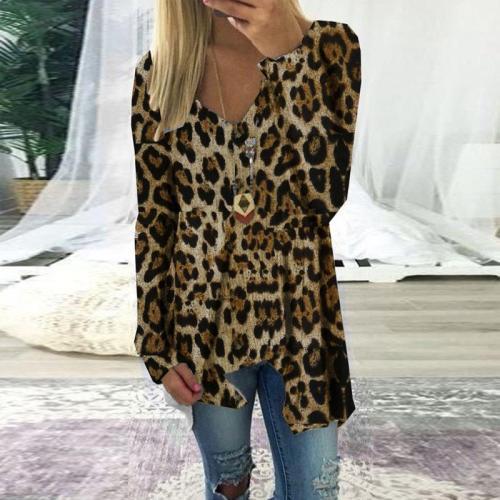 V-Neck Asymmetrical Frilled Leopard Print T-Shirt