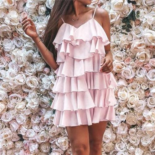 Fashion Chiffon Pure Color Mini Dresses