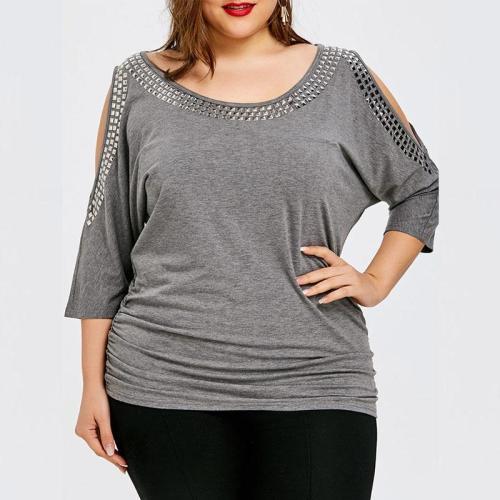 Open Shoulder  Ruched  Glitter  Plain  Half Sleeve Plus Size T-Shirts