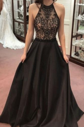 Sexy Elegant Lace Sleeveless Maxi Evening Dress